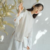 马甲 女士圆领开叉套头针织马甲2020年冬季新款韩版时尚潮流女式清新甜美女装打底背心