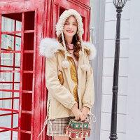 毛菇小象时尚个性棉衣女冬季新款加厚大毛领棉袄宽松开叉休闲