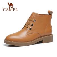 camel骆驼秋冬季新款加绒短靴子女真皮系带百搭保暖女鞋时尚马丁靴