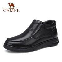 camel骆驼男鞋 2018秋季新款商务皮靴子休闲高帮套脚牛皮鞋爸爸鞋
