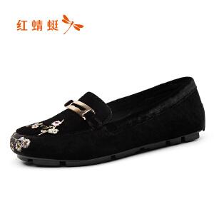 红蜻蜓女单鞋2017新款鞋面花朵装饰舒适休闲套脚平底圆头豆豆鞋女