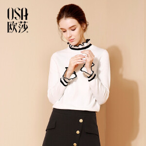 欧莎2017冬装新款女装优雅撞色舒适毛针织衫