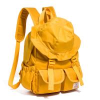新款时尚渔夫帽造型双肩包女个性bf风背包原宿风书包2018新款街头潮流 黄色