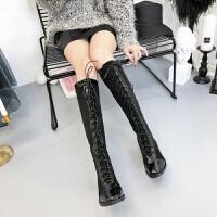 马丁靴女长筒靴2018秋冬新款韩版英伦风高筒靴学生不过膝绑带长靴