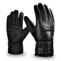 皮手套男士冬季骑行保暖加绒加厚手套男冬骑车摩托车防水 均码