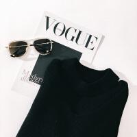 欧美秋季新款V领领口镂空毛衣拉链袖上衣针织衫女 潮