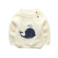 男童毛衣女童加绒加厚中小童打底衫宝宝婴儿保暖套头针织圆领毛衣 米白色 鲸鱼