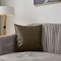 PU皮抱枕沙发靠垫北欧纯色人造皮抱枕套办公室靠枕靠背垫