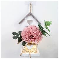 墙壁装饰挂件现代简约挂墙上的花盆壁挂花免打孔创意餐厅墙面挂饰Q 藕色 白屋+深粉乒乓菊