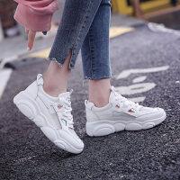 网布低帮小白鞋学生休闲增高厚底小熊鞋运动老爹鞋女鞋
