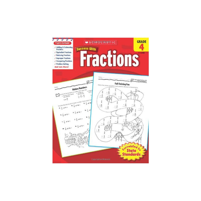 Scholastic Success with Fractions, Grade 4 学乐成功系列:四年级分数【英文原版】
