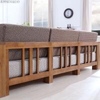 泽润全实木沙发白橡木拐角木质中式沙发组合北欧现代简约原木家具 组合