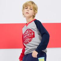 加菲猫童装春装男童儿童运动撞色植绒卫衣GGW17311