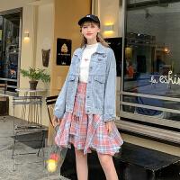 粉红豹联名款 MG小象格子半身裙女2019新款秋季高腰显瘦气质裙子
