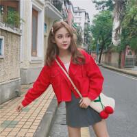 2018新款红色牛仔外套女宽松学生韩版bf春秋季新款百搭短款刺绣红色牛仔衣修身休闲