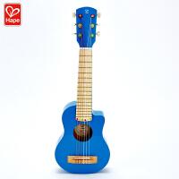 Hape吉他丽丽4岁以上蓝色中号吉他儿童早教音乐玩具尤克里里26寸六弦吉他婴幼玩具音乐玩具E8353