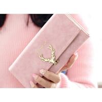 2017新款短款钱包女韩版学生可爱小清新ins潮个性小鹿折叠钱夹 长款粉色 长款