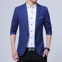 韩版修身格子西服男外套青中年小西装上衣男士春秋季英伦休闲单西