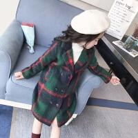 女童毛呢洋气外套秋装2017新款韩版公主中大童呢子大衣加厚长款 加厚绿色格子毛呢