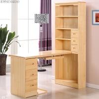 实木电脑桌转角书桌台式松木书桌书柜组合学习桌写字台带书架