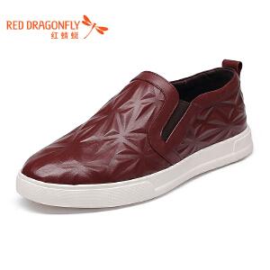 红蜻蜓乐福鞋秋季潮鞋2017新款板鞋一脚蹬男鞋真皮懒人鞋休闲皮鞋