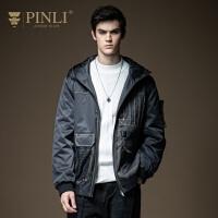 PINLI品立2020秋季新款男�b休�e��松短款�B帽棉衣外套B203405168