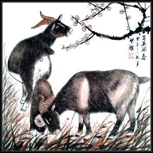 中国美术家协会会员 方楚雄 《三羊开泰》JXFT358