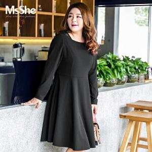 MsShe大码女装2017新款冬装胖mm蕾丝拼接收腰遮肚连衣裙M1740978