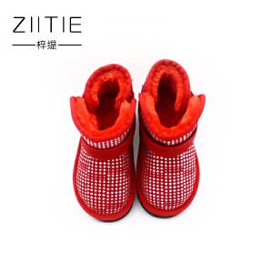 梓缇童鞋 棉鞋 儿童雪地靴 真皮反毛皮舒适休闲鞋 小童男童女童靴子ZT1019
