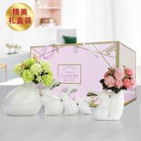 酒柜装饰品摆件兔子花瓶插花现代简约创意客厅卧室房间家居饰品