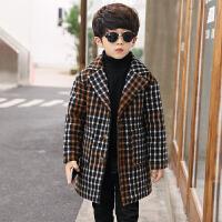 男童呢子大衣中长款2017新款女童中大童儿童格子外套加厚韩版童装