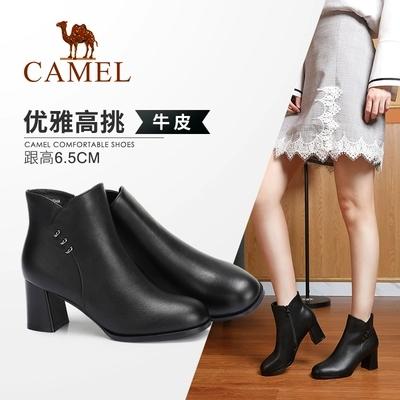 Camel/骆驼女鞋2018冬季新款 时髦职场通勤气质优雅粗跟短筒女靴