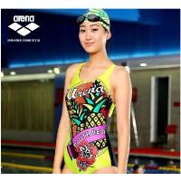 arena阿瑞娜 女士连体三角泳衣 修身显瘦露背带胸垫性感游泳衣