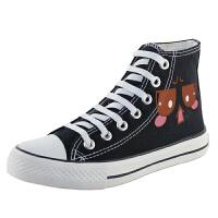 时尚高帮帆布鞋新款韩版女学生平跟百搭休闲板鞋涂鸦布鞋女潮