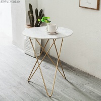 北欧家具简约现代铁艺边桌沙发边几角几大理石茶几圆形接待洽谈桌