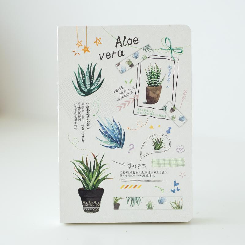 小清新多肉植物仿皮简易裸背学生日记本 多功能计划手帐 学生文具用