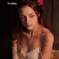 费加罗的婚礼花朵刺绣新婚蜜月优雅性感睡裙 白色 花的嫁纱 160(M)