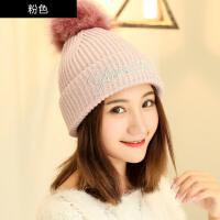 帽子女秋冬季时尚韩版加绒毛线帽针织冬天套头保暖护耳百搭毛球帽