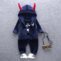 秋款儿童加绒套装1-5岁男童韩版加厚金丝绒宝宝马甲卫衣三件套 藏青色 眼睛加绒