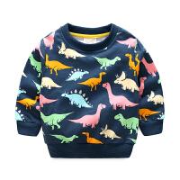 男童满印卫衣T恤 春装春秋儿童外套宝宝童装套头卡通上衣春季新款 满印恐龙卫衣