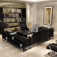 老板桌办公家具皮时尚大气班台简约现代经理办工组合总裁单人书桌