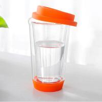 普润(PU RUN) 普润 双层玻璃带盖水杯 隔热玻璃三色茶杯橘色