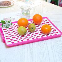 家英欧式双层餐具滤水架 水果托盘杯子托盘水杯茶杯茶盘长方形家用塑料沥水托盘厨房客厅水果盘-玫红色