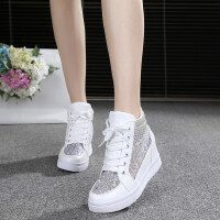 运动鞋休闲鞋高帮旅游鞋蕾丝网纱透气坡跟隐形内增高女网鞋