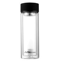 玻璃杯便携双层水杯透明圆形带盖男女车载办公家用随手茶杯子