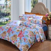 富安娜艺术家纺床单四件套 涤纶磨毛加厚保暖冬季四件套床上用品 灿烂 1.8米床
