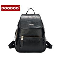 【支持礼品卡】DOODOO 2017新款包包女包双肩包日韩简约多隔层休闲大容量女士背包书包 D6071