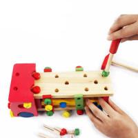 七彩螺丝车木制积木螺母动手能力锻炼拆装车逻辑思维开发