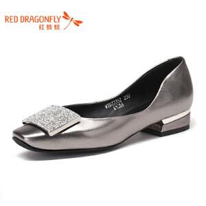 红蜻蜓女鞋时尚水钻方扣女士浅口鞋