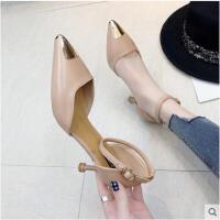 新款欧美中空百搭女鞋尖头包头细跟高跟鞋一字扣带凉鞋女